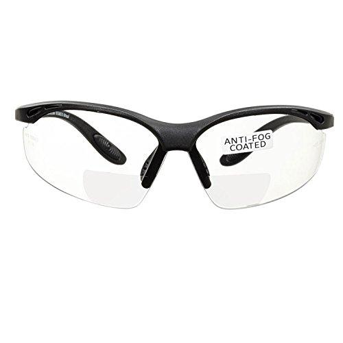 voltX 'Constructor' BIFOKALE Schutzbrille mit Lesehilfe (KLAR +1.5 Dioptrie) CE EN166F Zertifiziert/Sportbrille für Radler enthält Sicherheitsband – Bifocal Safety Glasses, Anti-Fog UV400 Linse