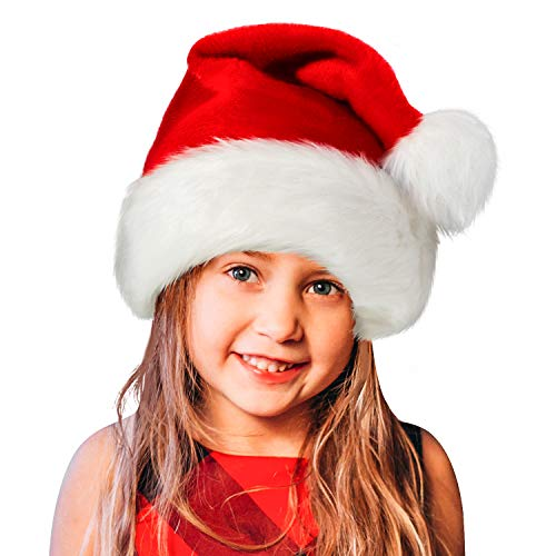 Santa Hat,Xmas Holiday Hat for Kids,Unisex Velvet Comfort Christmas Hats Extra Thicken Classic Fur for Christmas New Year Festive Holiday Party Supplies (Children)