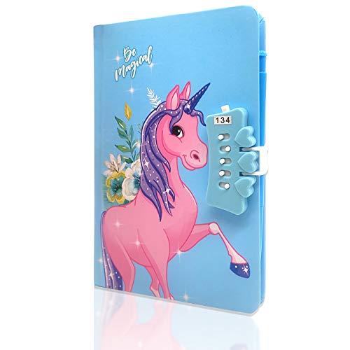 Unicornio Cuaderno,Cuaderno de niñas Diario con Candado de Corazón,Cuaderno de Arcoíris Cuaderno de Bricolaje Cuaderno de Diario Diario,Unicorn Secret Estilo con Cerradura y Llaves