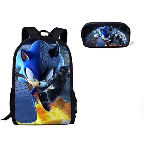 Mochila escolar Sonic cartoon 2 unids/set nueva mochila Hedgehog Sonic School Bag Set mochila estudiante mochila escolar conjuntos de tres piezas para niños niñas regalos de cumpleaños