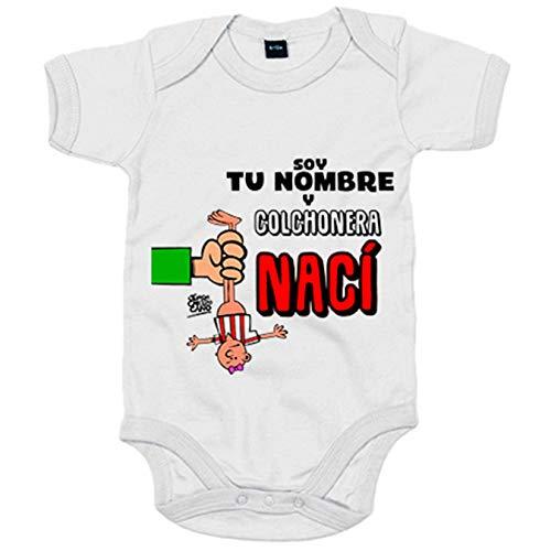 Body bebé Atlético de Madrid cochonera nací personalizable con nombre - Blanco, 12-18 meses