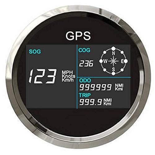 Eling Digital GPS Tacho LCD Geschwindigkeitsmesser Kilometerzähler Einstellbar mit GPS Antenne 85mm Überdrehzahl Alarm