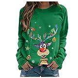 Weihnachten Sweatshirt Pullover Damen Teenager Mädchen Langarm Rundhals Shirt mit Niedlichem Hirsch Muster Aufdruck Weihnachtspullover Xmas Pulli Sweater Top (Grün Hirsch, L)
