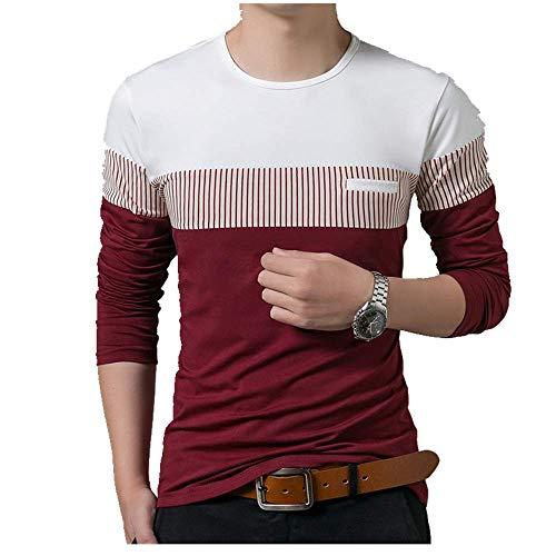NOBRAND - Camiseta de manga larga para hombre, diseño de rayas verticales, manga larga, casual, versátil, para hombre