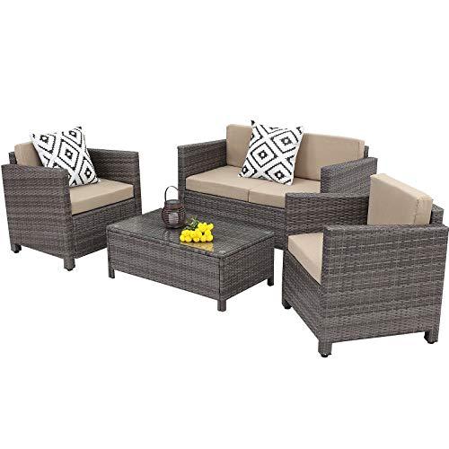 Wisteria Lane Patio Furniture Set, 4 Piece Outdoor Conversation Sets, Wicker Sofa Set with Cushion for Garden Deck Porch (Grey)