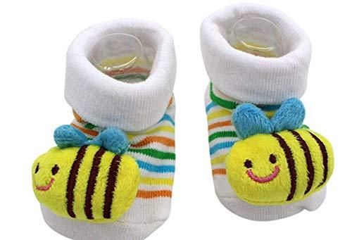 Antislip sokken - kinderen - baby's - 0/12 maanden - met motief - bij - wit - gestreept - mannelijk - vrouwelijk - unisex