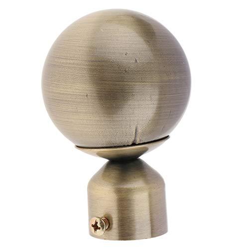 Qingsb 1 Pcs Gordijnroede Head Ends Cap Gordijnstok Finale voor Gordijnen Accessoires Dia 28 mm Binnendiameter, Bronzen Bal