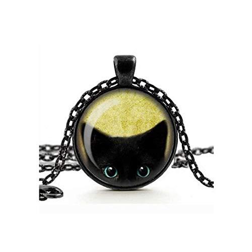 Heng Yuan Tian Cheng, süße, freche schwarze Katze, peeking Anhänger, Halskette, Glas-Kamee, Cabochon