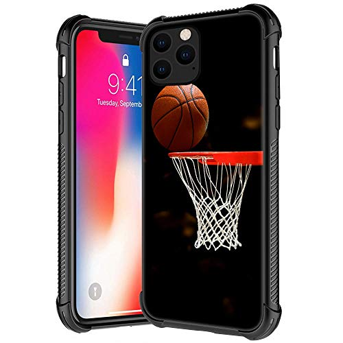 Schutzhülle für iPhone 11 Pro, Basketballkorb-Muster, gehärtetes Glas, iPhone 11 Pro Hüllen für Jungen, Herren, weiches TPU-Stoßdämpfer-Design, kratzfest, stoßfest, kompatibel mit iPhone 11 Pro