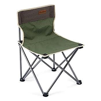Booxihome Chaise de camping pliante avec sac de transport ultra légère pour l'extérieur jusqu'à 120 kg ? Vert & marron