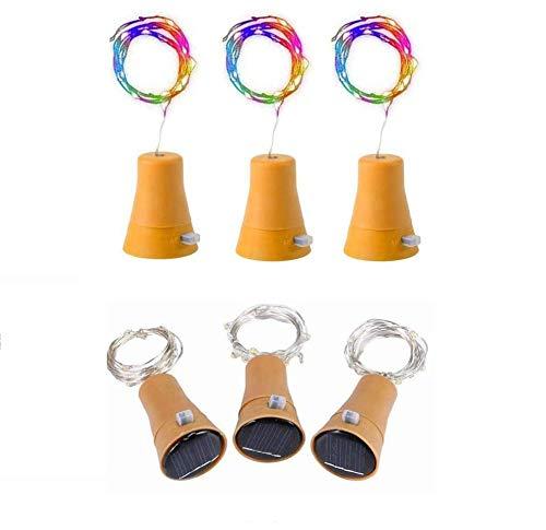 6pcs 10 LED de bouteille de vin de liège solaire en liège avec 1M de fer en cuivre en forme de lampe de bar pour bouteille bricolage, fête, décoration intérieure, mariage et Halloween (Coloré)