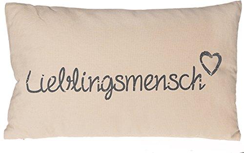 Kamaca LIEBLINGSMENSCH Kissen 30 cm x 50 cm Flauschig gefülltes Kissen mit Reißverschluss Bezug aus 100% Baumwolle EIN Hingucker und wertiges Geschenk (Creme)