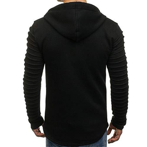 PRJN Men's Hoodiesblack Long SleeveHoodies Solid colorSweatshirtThe Pleated Men's Pullover Sweater Solid Color Pleated Long-Sleeved Hoodie Mens Hoodie Long Sleeve Sweatshirt Sports Pullover