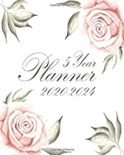 5 Year Planner 2020-2024: Gorgeous Pink Rose Floral Cover:  60 Months Yearly Planner Monthly Calendar:  Schedule Agenda Logbook