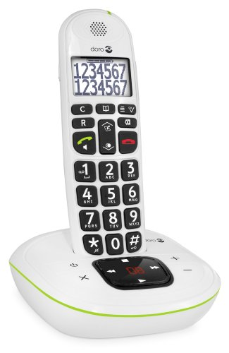 Doro PhoneEasy 115 DECT Schnurlostelefon (Anrufbeantworter, große Schrift und Zahlen, optische Anrufsignalisierung) weiß