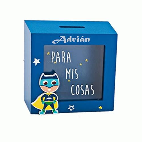 Hucha superheroe de Madera Personalizada con Nombre. Hucha de Madera Azul Personalizada con Nombre o Texto Que Quieras