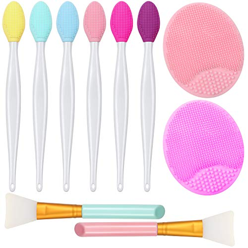 10 Pieces Lip Scrub Brush Kit, 6 Pieces Silicone Exfoliating Lip Brush Double-Sided Soft Lip Exfoliator Tool with 2 Pieces Silicone Face Scrubbers Exfoliator Brush and 2 Pieces Silicone Face Mask