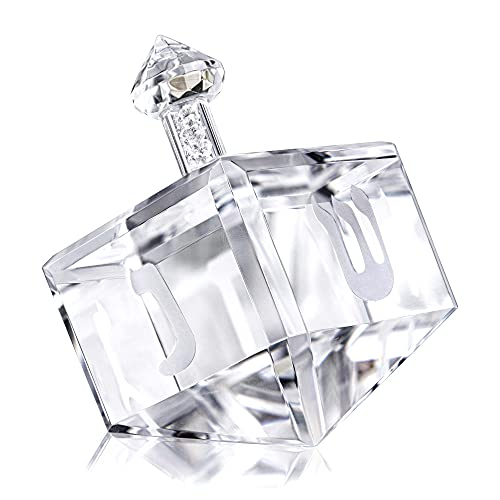 Crystal Dreidel Paperweight with Hebrew Letters Glass Figurines Collectibles Hanukkah Gift Home Table Decor