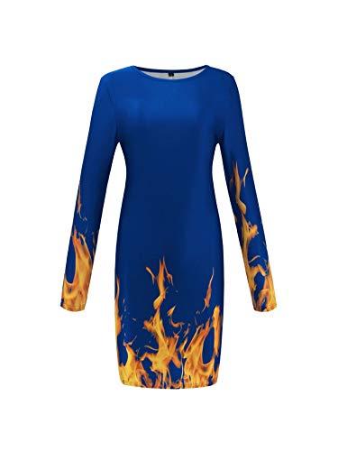PUJIANGxian Frauen Strapless Plus Langärmelig Kleid Gedruckt Skirt Flame Velvet Midi (Color : Blue, Size : XL)