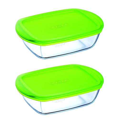 Pyrex Microwave Safe Classic Rectangular Glass Dish Vented Lid 1.1 Litre Green (Pack of 2)