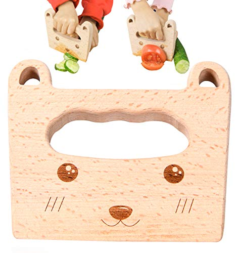 Wooden Kids Knife for Cooking-Cute Bear Shape Safe Kitchen Tool for Kids, Cutting Veggies Fruits Kitchen Toy for 2-10 Years