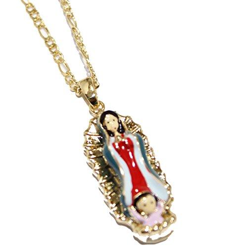 Diamantados of Florida Virgen de Guadalupe 18K Chapado en Oro Colgante con 20Pulgadas Cadena-Virgen de Guadalupe Collar