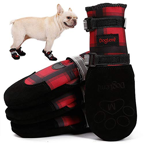 Dog Shoes Boots, Dog Winter Hiking Boots, Water Resistant Snow Paws Shoes for Small Medium Large Dogs, Warm Fleece Liner, Anti-Slip, British Plaid High Tube, Two Adjustable Reflective Fastening Straps