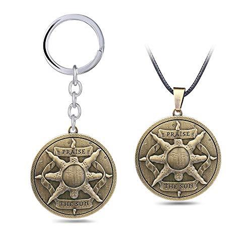 MINTUAN 2 Piezas Nuevo Juego Dark Souls 3 Llavero alabanza al Sol Emblema colección Colgante Collar Metal Cuero Cadena Gargantilla Llavero joyería
