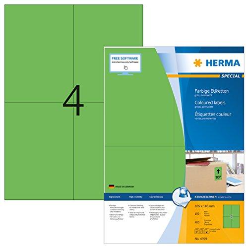 HERMA 4399 Farbige Etiketten DIN A4 (105 x 148 mm, 100 Blatt, Papier, matt) selbstklebend, bedruckbar, permanent haftende Farbetiketten, 400 Klebeetiketten, grün