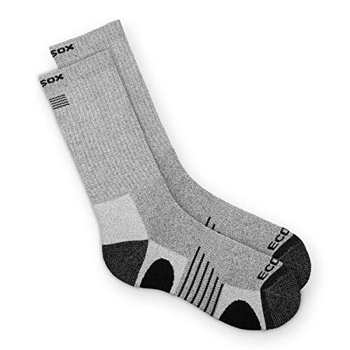 EcoSox Bamboo Viscose Full Cushion Hiking/Outdoor Crew Socks for Men & Women | Keep Your Feet Dry, Odor, & Blister Free (Medium - (Large - Gray w/ Black)