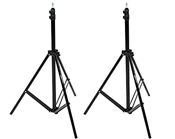 Amazon Basics Aluminum Light Photography Tripod Stand with Case - Pack of 2 2.8 - 6.7 Feet Black