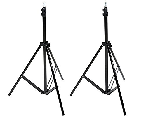 AmazonBasics Aluminum Light Photography Tripod Stand with Case - Pack of 2, 2.8 - 6.7 Feet, Black