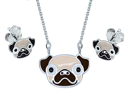 Katy Craig, Sterling Silver, Pug Dog Earrings & Necklace Gift Set