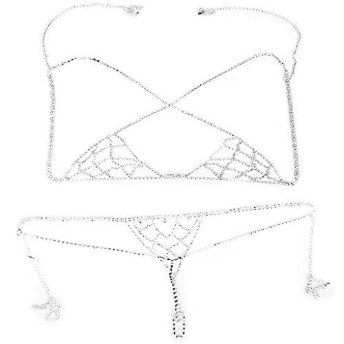 REFURBISHHOUSE Sexy Bikini Schmuck Strass Kette BH Dessous Halter Oberteile Koerper Ketten Set