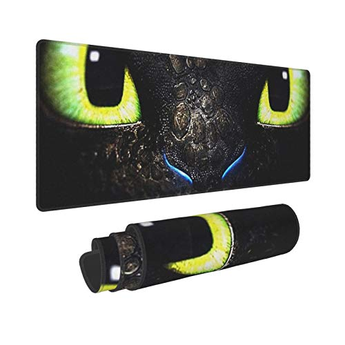 Toothless Night Fury Gaming Mousepad Extended Large Anime Mouse Mat Rectangle Rubber Computer Keyboard Desk Mat Comfortable Thicken Waterproof Non-Slip for Pc Laptop Office Home 31.5x11.8 in