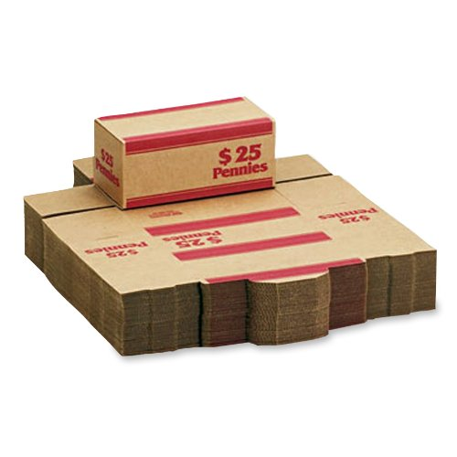 MMF Industries Pack 'n Ship Coin Transport Boxes for Pennies, 25 Dollar Capacity, 50 Boxes per Carton, Red (240140107)