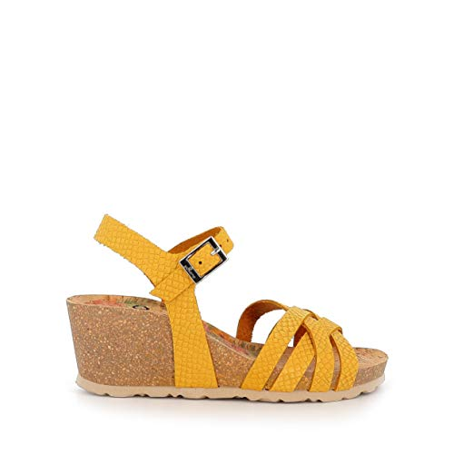 Sandalias de Cuero Fabricadas en España Yokono Calpe 005F Mostaza - Color - Mostaza, Talla - 38