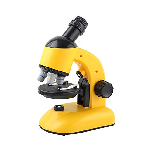 Anniarchei Microscope,Children's Microscope Toys Educational Science Toys HD Biological Microscope (Yellow)