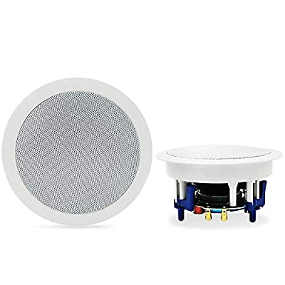 Herdio 5.25 Inches 300 Watts Round Bluetooth Ceiling Speakers 2 Way Flush Mount Stereo Sound Bathroom Speaker For Bedroom Home Living Room from
