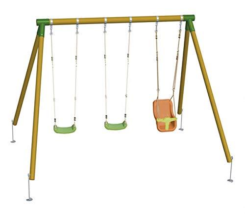 Masgames | Altalena in legno triplo ETNA | 2 sedute piatte in plastica + seggiolino per bambini con schienale | legno trattato | ancoraggi inclusi | uso domestico |