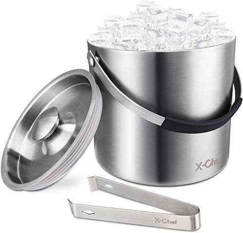 X-Chef Eiseimer Eiswürfelbehälter mit Deckel Eiszange, Weinkühler Sektkühler aus 304 Edelstahl, Doppelwandig Eiskübel, Eiskühler für Party, Bar-3L