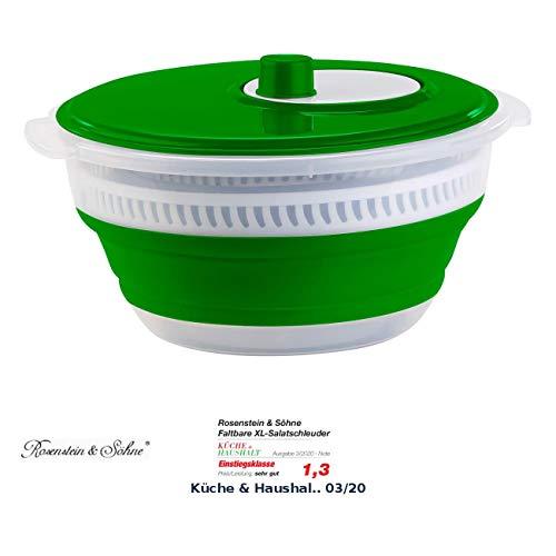 Rosenstein & Söhne Sieb: Faltbare XL-Salatschleuder mit Kurbel und hoher Übersetzung, 5 l (Salatschüssel)