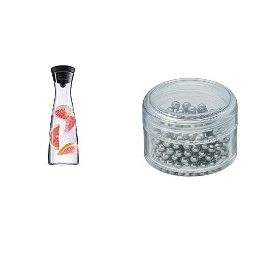 WMF Basic - Botella De Agua De Cristal, Sistema Close Up, Altura 32,7 Cm, Anchura 11,3 Cm + - Perlas Limpiadoras Para Garrafas Y Decantadores, Colección Basic
