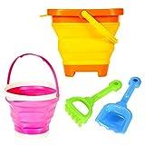 ThinkMax Giocattolo della Spiaggia per i BambiniGiocattolo della Spiaggia per i Bambini, 2 Pezzi Benne Pieghevoli con Pala e rastrello, Giocattoli di Sabbia da Spiaggia all'aperto