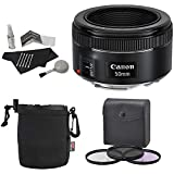 Canon EF 50mm f/1.8 STM Lens + Premium Polaroid Bundle Kit +Polaroid Optics 49mm 3 Piece Filter Set (UV, CPL, FLD) + Bower Lens Pouch + Polaroid Cleaning Kit + Polaroid Lens Cap & Strap