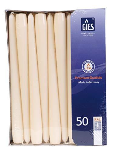 Gies 205-339000-14, 50er-Packung, 245 x 22 mm, Champagner Kerzen Spitzkerzen