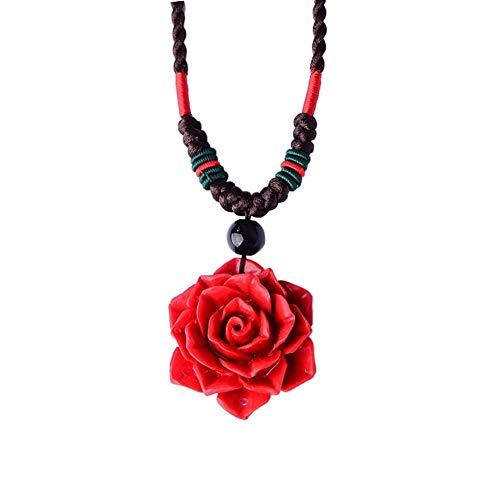 FKJSP Collar de Las Mujeres de Cadena Grandes Rosa roja Flor Collar Negro Piedra Pedantes Collares (Color : 45cm, Size : Red)