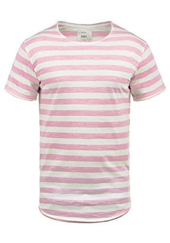 Redefined Rebel Milo Herren T-Shirt Kurzarm Shirt Streifenshirt Mit Streifen Und Rundhalsausschnitt 100% Baumwolle, Größe:XL, Farbe:Pink Mist
