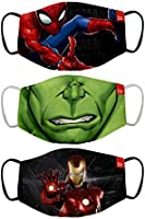 Bon Organik Mighty Avengers (OFFICIAL MERCHANDISE) 2 Ply Printed Cotton Cloth Face Mask Bundle For Kids (Set Of 3)