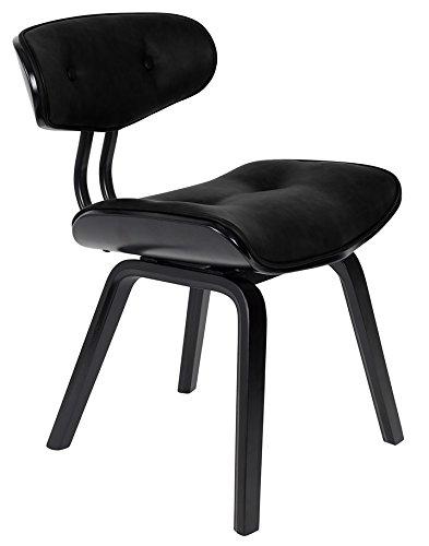 zuiver Blackwood Chair, zwart, multiplex houten frame kleur zwart met zitting en rug PU-leer zwart